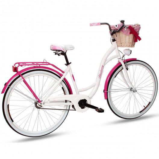 """Retro Bicykel GOETZE BLUEBERRY 28"""" 1 Prevodový Ružový+košík"""