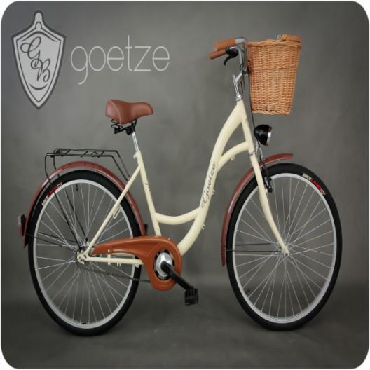 """Retro Bicykel GOETZE ECO 26""""/28"""" 1 Prevodový Kremový+košík"""