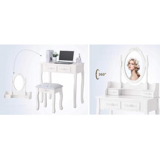 Toaletný stolík s kozmetickým zrkadlom + stolička Marie Thérése