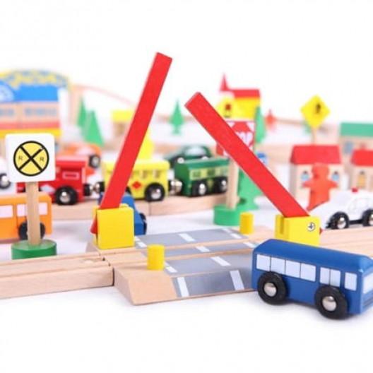 Wooden Toys drevena autodráha 100 elemntov