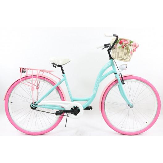 "Retro Bicykel COLOURS LAVIDA 26""/28"" 1 prevodový Pastelový +košík"