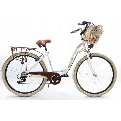 """Retro Mestský Bicykel LAVIDA 28"""" 7 Prevodový Bielo-krémový+košík 2020"""