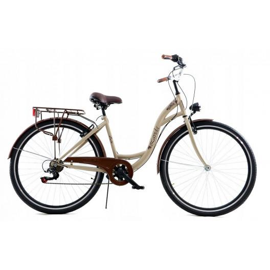 """Retro Mestský Bicykel LAVIDA 28"""" 7 Prevodový krémový+košík"""
