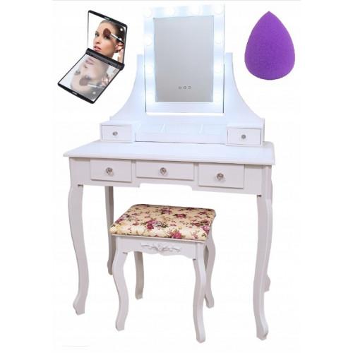 Toaletný Kozmetický Stolík LED + taburetka+zrkadielko