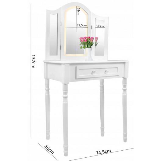 Kozmetický stolík s 3 zrkadlami+ stolička
