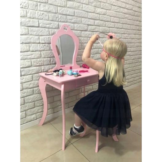 Detský toaletný stolík so zrkadlom a taburetkou ♥ SRDCE ♥