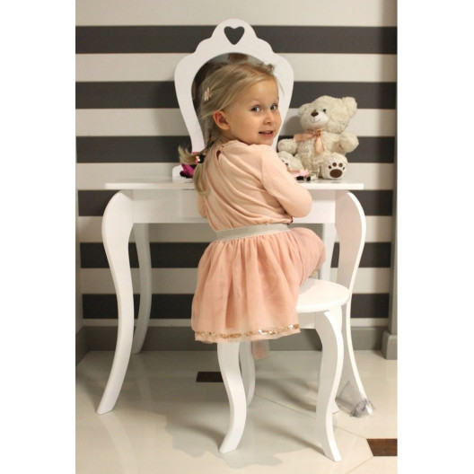 Detský toaletný stolík so zrkadlom a taburetkou ♥ SRDCE ♥ Mäta
