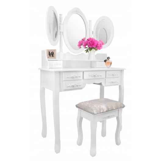 Kozmetický stolík s 3 zrkadlami + stolička